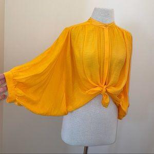 Anthropology Maeve yellow ballon sleeve blouse S